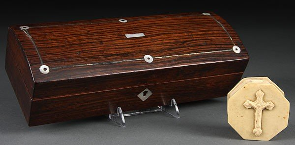 677:  19TH C ROSEWOOD AND MOTHER OF PEARL INLAID BOX