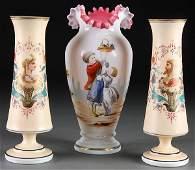 745 3 VICTORIAN BOHEMIAN ENAMELED VASES BRISTOL GLASS
