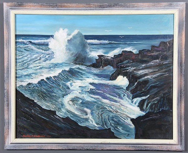 794: DUDLEY BOSTWICK OIL PAINTING SEASCAPE