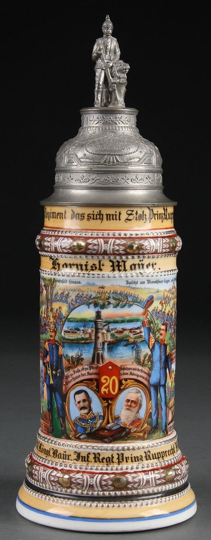 801: BEER STEIN IMPERIAL GERMAN REGIMENTAL PORCELAIN