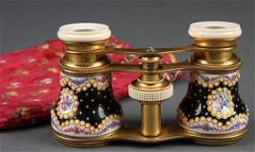 1085 A PAIR OF FRENCH GILT BRONZE ENAMELED AND IVORY M