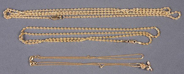 659E: THREE 14KT YELLOW GOLD CHAIN NECKLACES