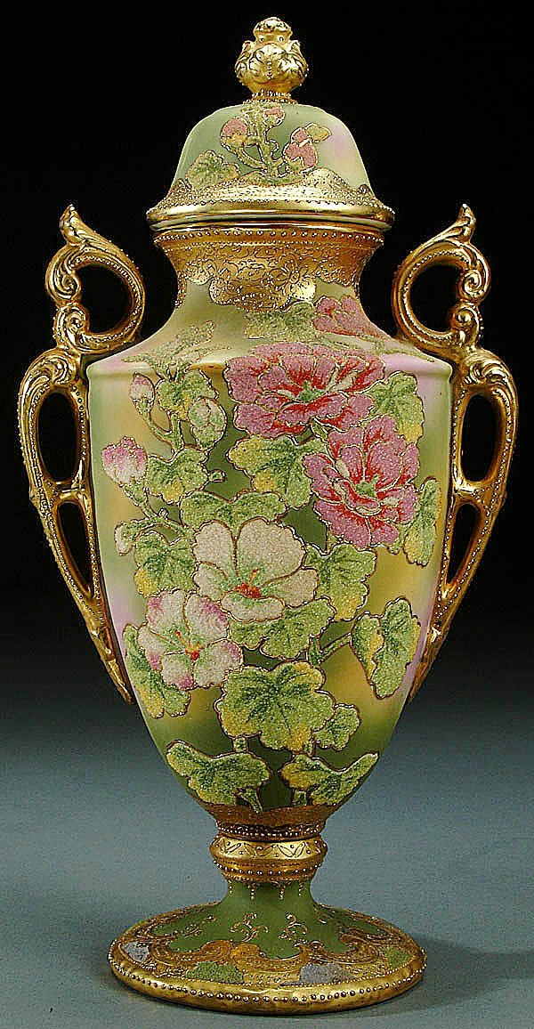 3: A NIPPON CORALENE DECORATED PORCELAIN TWO HANDLED