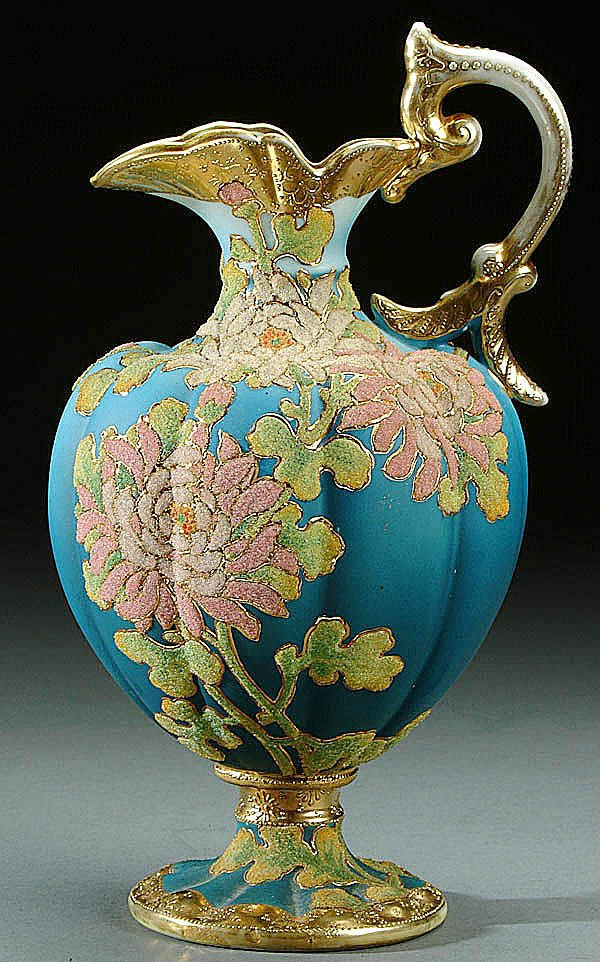 A NIPPON CORALENE DECORATED PORCELAIN BOLTED JUG