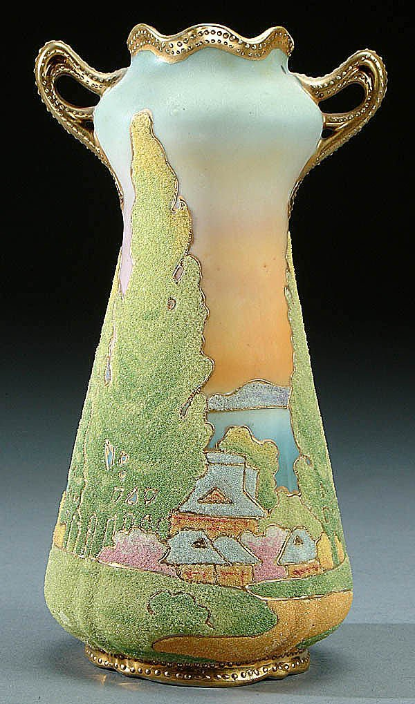18A: A NIPPON CORALENE SCENIC DECORATED PORCELAIN HAND
