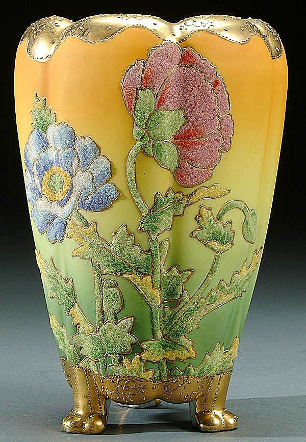 19: A NIPPON CORALENE DECORATED PORCELAIN FOOTED VASE