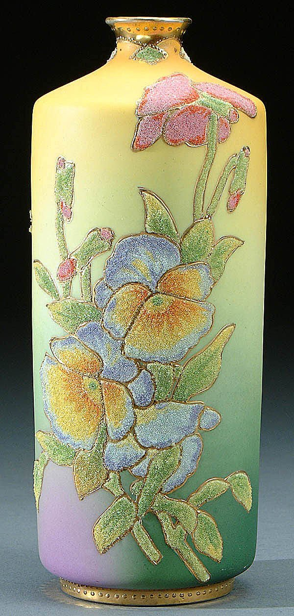 23: A NIPPON CORALENE DECORATED VASE circa 1909 with