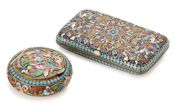 303: TWO RUSSIAN SILVER AND ENAMEL ITEMS