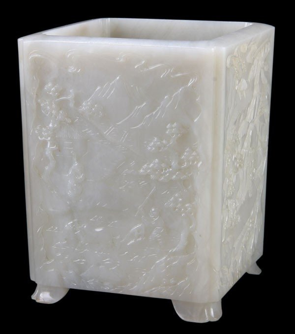 444: A  LARGE  CHINESE CARVED WHITE JADE BRUSHPOT