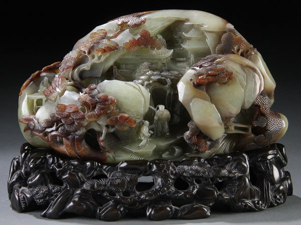 449: A VERY FINE CHINESE CARVED CELADON JADE BOULDER