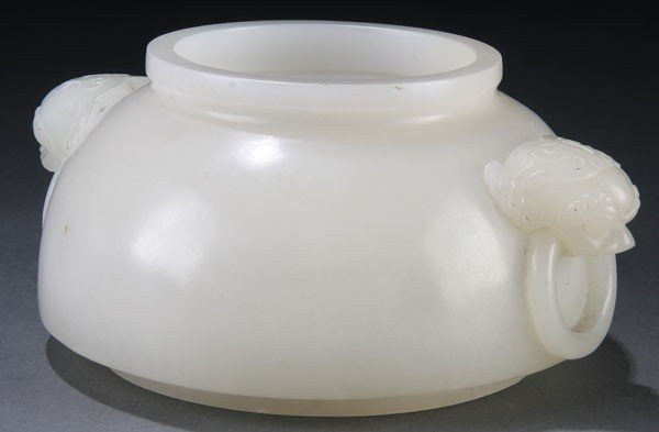 458: A GOOD CHINESE CARVED WHITE JADE BRUSH WASHER