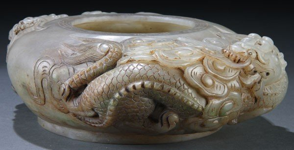 """463: A  CHINESE CARVED JADE """"DRAGONS"""" BRUSH WASHER"""