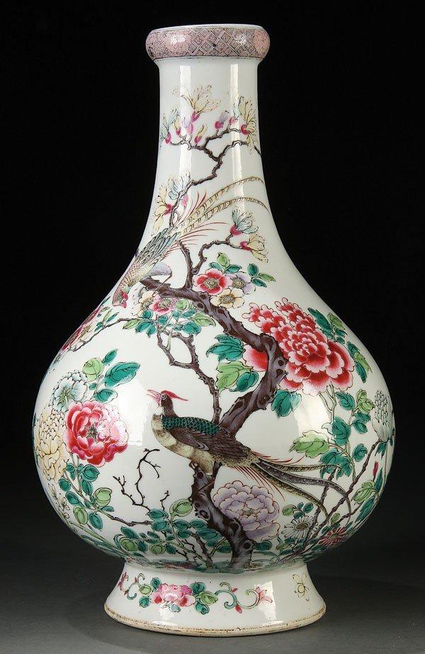 487: CHINESE FAMILLE ROSE  ENAMELED PORCELAIN VASE