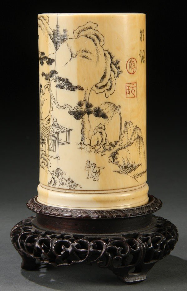 681: CHINESE 18TH C CARVED IVORY BRUSH POT