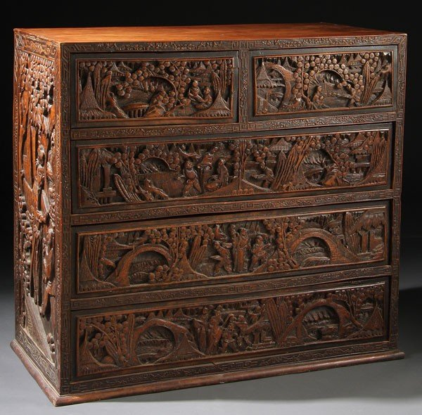 704: CHINESE EXPORT SCENIC CARVED CAMPHOR WOOD  CHEST