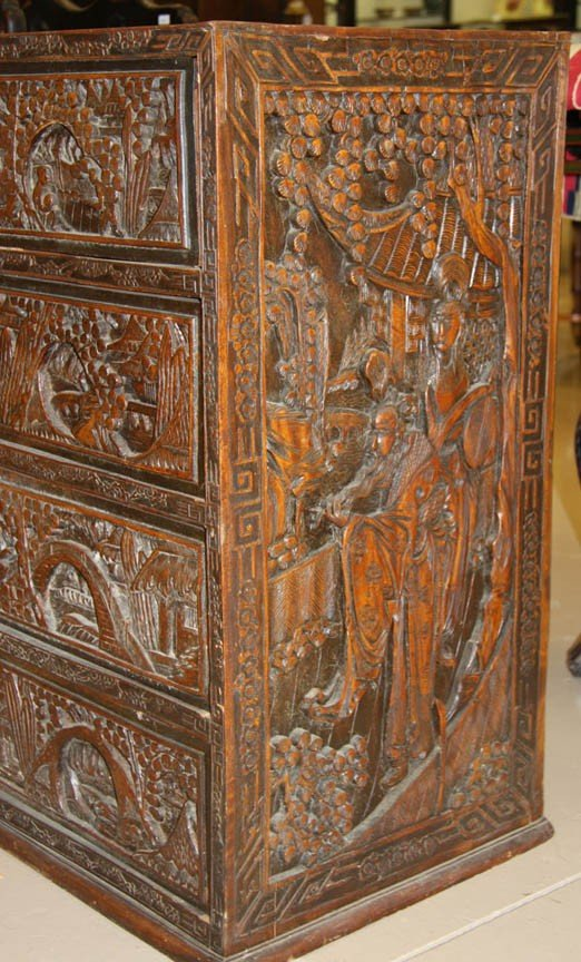 704: CHINESE EXPORT SCENIC CARVED CAMPHOR WOOD  CHEST - 2