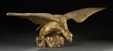 749  CAST IRON AND GOLD PAINTED ARCHITECTURAL EAGLE