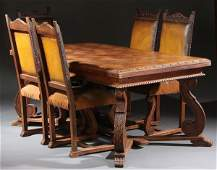 753: A FRENCH PROVINCIAL SEVEN PIECE OAK DINING SET