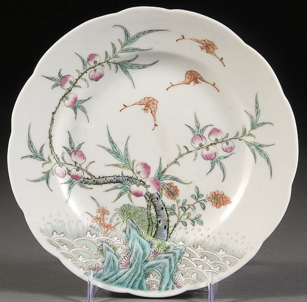 5: A  CHINESE PORCELAIN PEACHES & BATS ENAMELED PLATE
