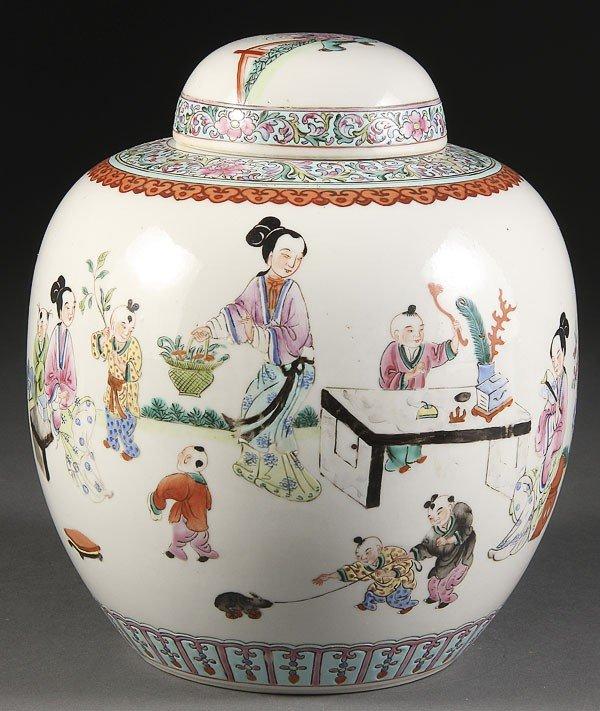 7: A CHINESE PORCELAIN LIDDED FIGURES JAR