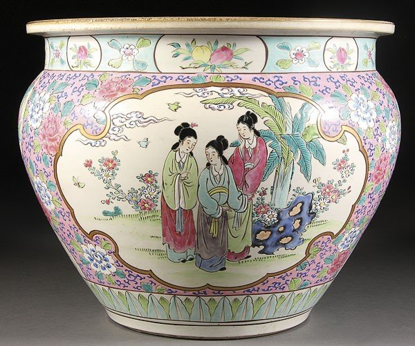 14: CHINESE HAND-PAINTED POTTERY JARDINIÈRE