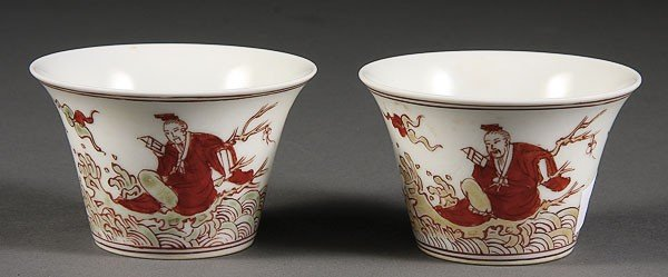 17: TWO CHINESE PORCELAIN LATE MING STYLE WINE CUPS