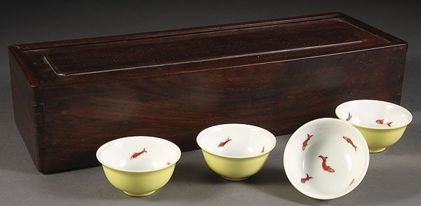 18: FOUR CHINESE PORCELAIN IMPERIAL STYLE WINE CUPS