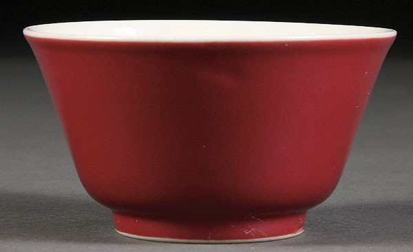 19: CHINESE PORCELAIN IMPERIAL QUALITY RED GLAZE WINE