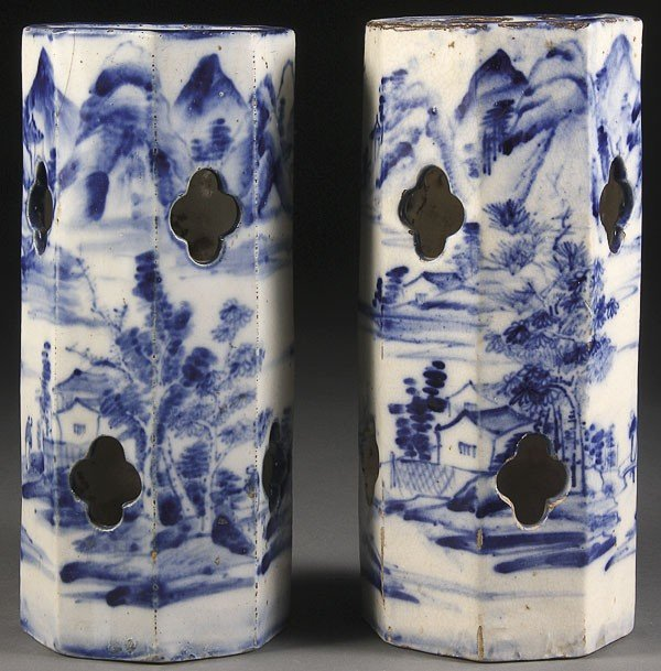 55: TWO CHINESE BLUE & WHITE DECORATED PORCELAIN HAT
