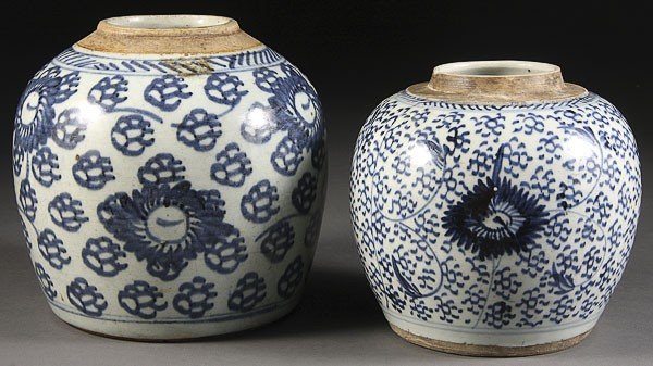 57: TWO CHINESE BLUE AND WHITE PORCELAIN JARS