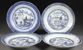 CHINESE EXPORT CANTON PORCELAIN BLUE  WHITE PLATES