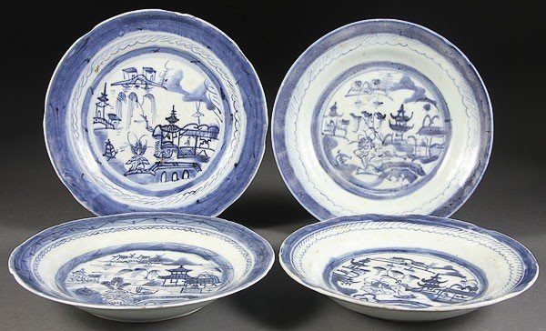 59:  CHINESE EXPORT CANTON PORCELAIN BLUE  WHITE PLATES