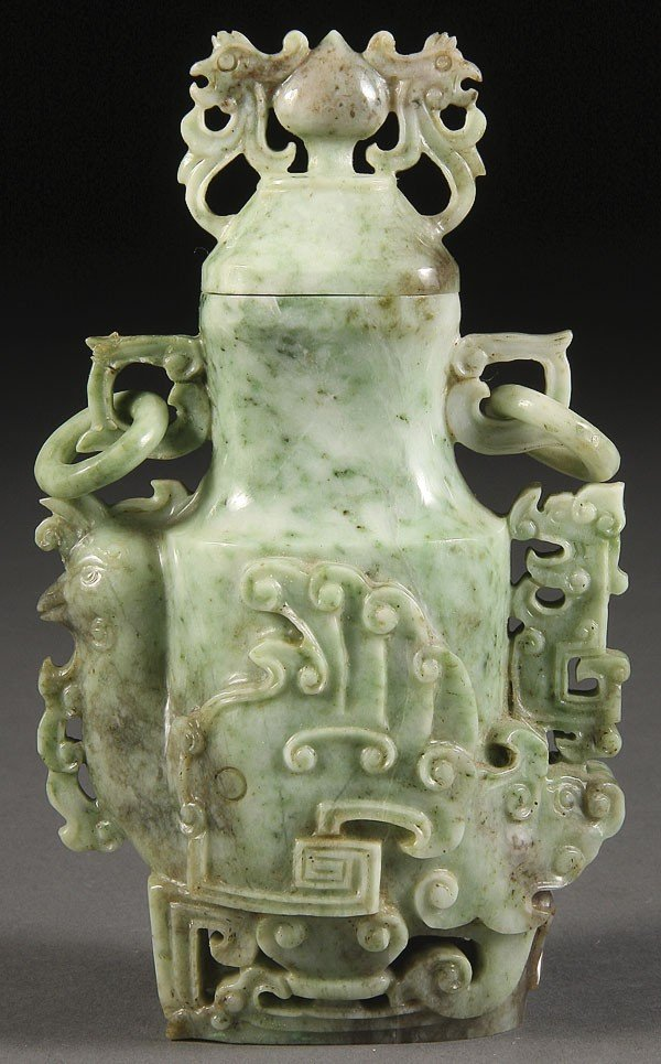 65:  CHINESE CARVED JADEITE LIDDED URN, CIRCA 1900
