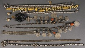 A STERLING SILVER AND SILVER COIN JEWELRY GROUP
