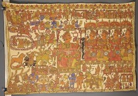 A LARGE HINDU PAINTED LINEN PANEL, NEW DELH
