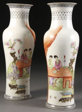 A PAIR OF FINE CHINESE FAMILLE ROSE MODERN PERIOD