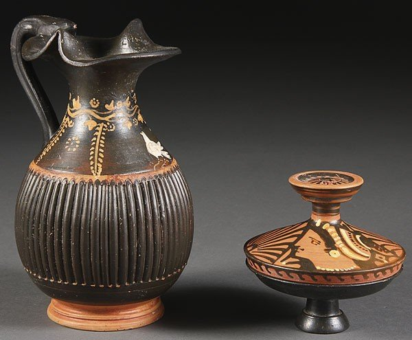 243: A GREEK STYLE POTTERY OINOCHOE AND LEKANIS