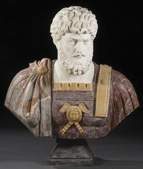 LIFE SIZED  MARBLE BUST OF A ROMAN STATESMAN