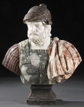 LIFE SIZE CARVED MARBLE BUST OF A ROMAN STATESMAN