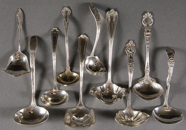 344: A GROUP OF 10 STERLING SAUCE LADLES