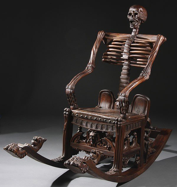 535:  RUSSIAN STYLE  CARVED WOOD SKELETON ROCKING CHAIR