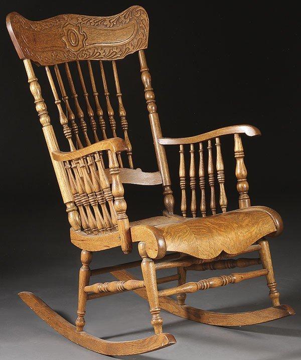 Oak rocking chair circa