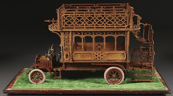 737:  FOLK ART MODEL DOUBLE DECKER BUS, C. 1910