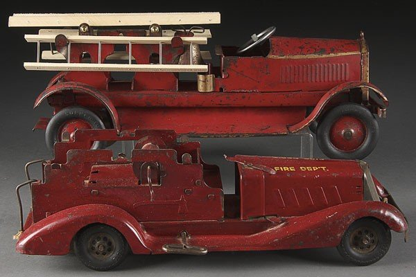 748: TWO VINTAGE PRESSED STEEL TOY  FIRE TRUCKS