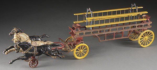 749: A VINTAGE CAST IRON TOY HORSE DRAWN LADDER WAGON,