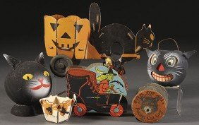 VINTAGE  HALLOWEEN CANDY CONTAINERS AND  TOYS