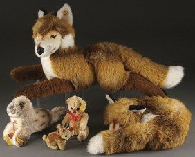 FIVE STEIFF ANIMALS, EARLY TO MID 20TH CENTURY