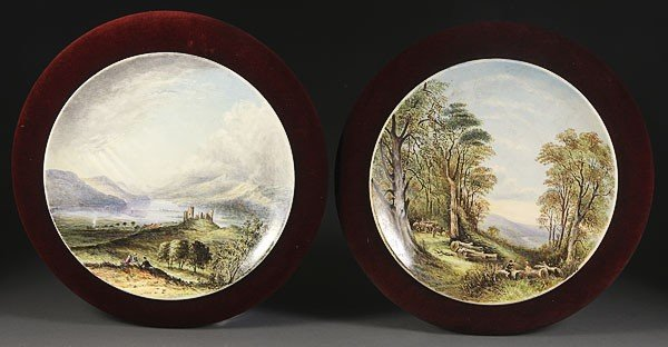1052: A PAIR OF FRENCH ARTIST DECORATED SCENIC CHARGERS