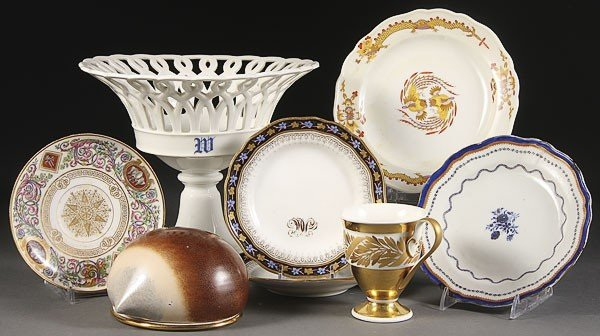 1054: A SEVEN PIECE FRENCH AND GERMAN PORCELAIN GROUP,