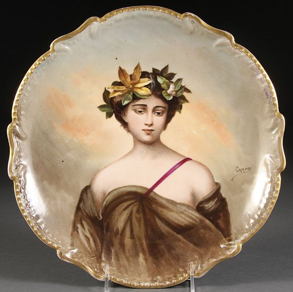 1055:  FRENCH LIMOGES HAND PAINTED PORTRAIT PLATE